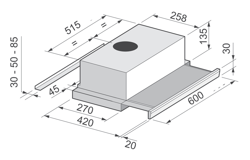Вытяжка кухонная Zirtal KB-60 WH image 2.