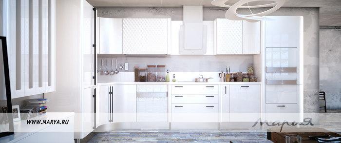 Дизайн кухни 2016: белые цвета