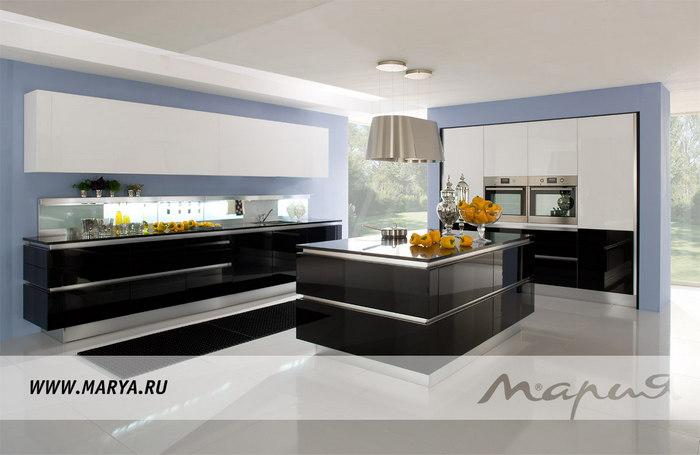 Фото: дизайн кухни 2016 – сочетание черного и белого цветов