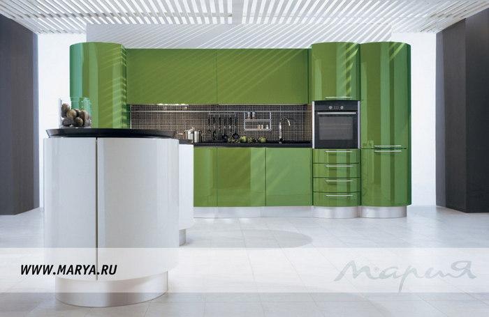 Фото: дизайн кухни 2016 – зелёный цвет